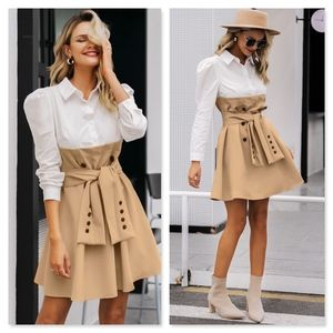 Faux Overlay Trench Skirt With Dress Shirt Dress